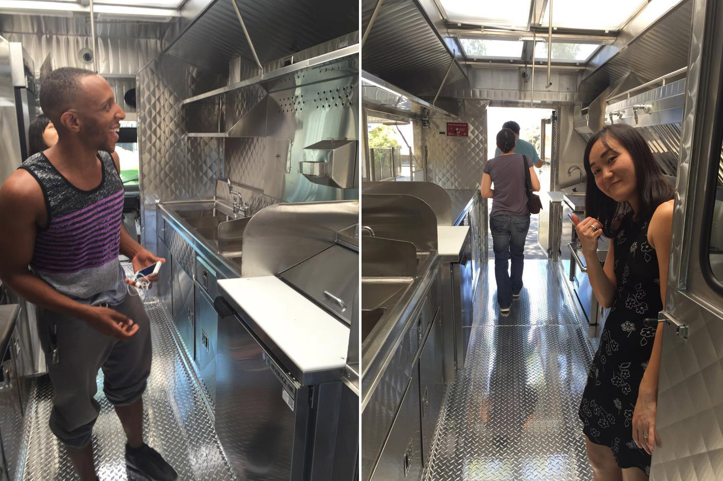 """Chef Chizuru Okamoto Abraham and team give the truck one final inspection before earning a """"thumbs up""""."""