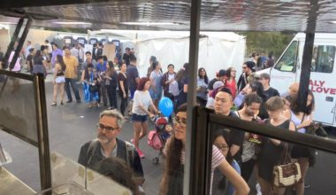 View of line of customers from the truck