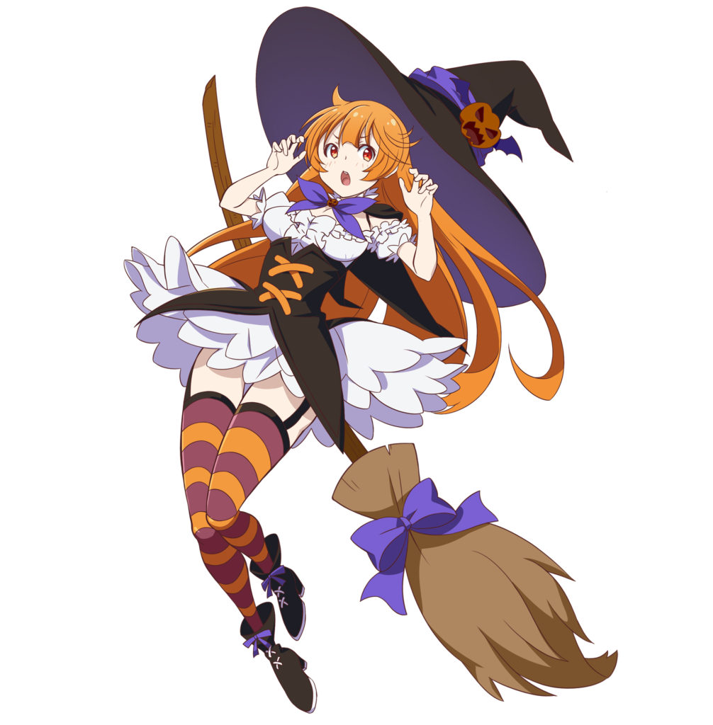 Haru-chan dressed as a witch holding a broom.