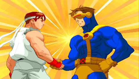 Ryu and Cyclops shaking hands