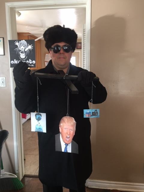 "David Kritzer posing in costume as ""KGB Agent Rigging the Election"""