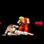 Image showing an example of a 3-hit combo with Street Fighter sprites.