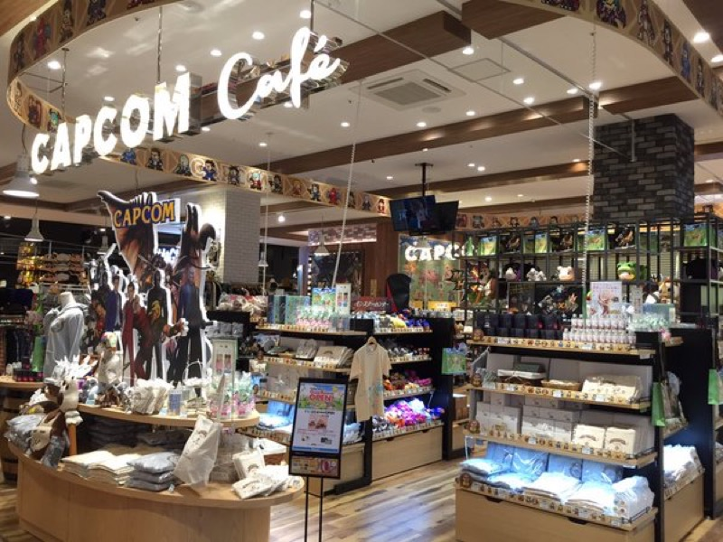 Capcom Cafe's store selling various goods