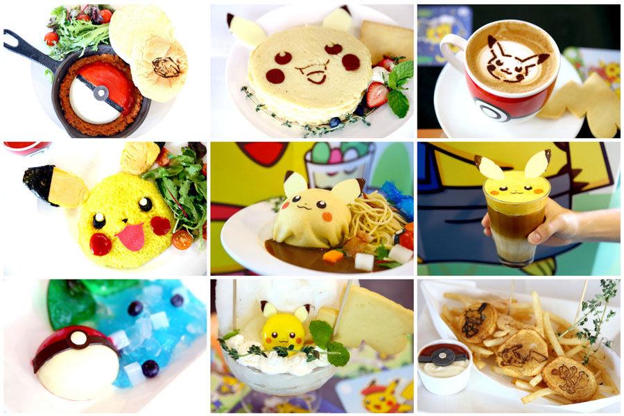 Various dishes with Pokemon motifs