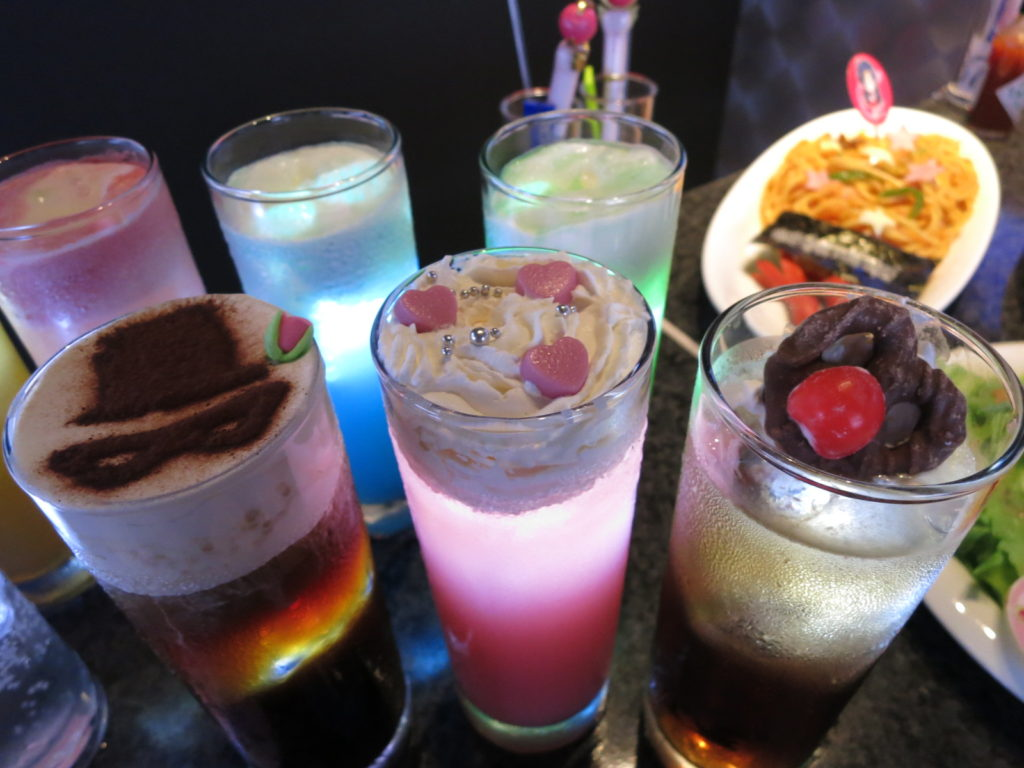 Various drinks with Sailor Moon motifs