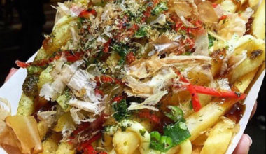 Fries with Okonomiyaki style toppings